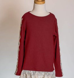 M. L. Kids Burgundy Top w/ Lace Hem & Sleeve Details