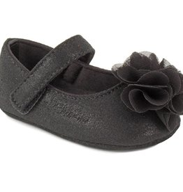 Trimfoot Co. Black Shimmer Skimmer Shoe w/ Chiffon Flower