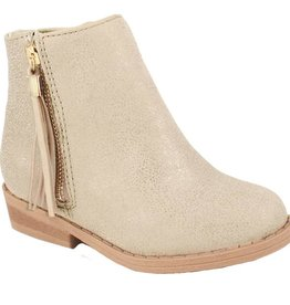 Trimfoot Co. Champagne Shimmer Ankle Boot w/ Tassel