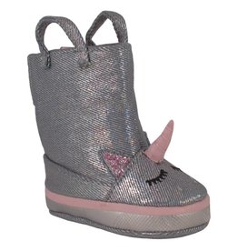 Trimfoot Co. Silver Metallic Denim Boot w/ Unicorn Face