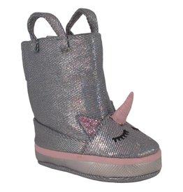 Trimfoot Co. Silver Metallic Denim Boot w/ Unicorn Face
