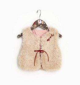 MaeLi Rose Shaggy Faux Fur Vest Tan