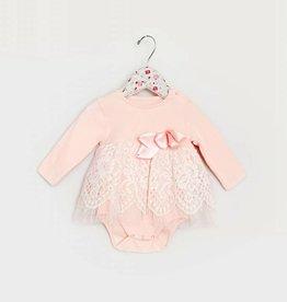MaeLi Rose Lace Skirt Onesie Peach