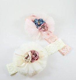 MaeLi Rose Bouquet Elastic Headband Blush