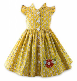 Little Miss Marmalade Glen Park Dress Leaf Print Yellow