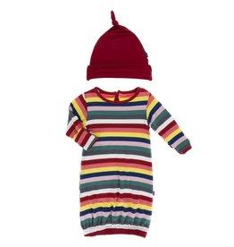 Kickee Pants Layette Gown & Hat Bright London Stripe