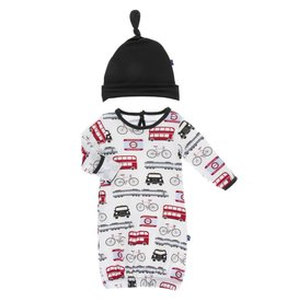 Kickee Pants Layette Gown & Hat London Transport