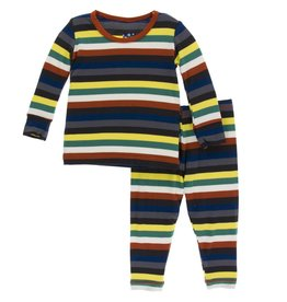 Kickee Pants LS PJ Set Dark London Stripe