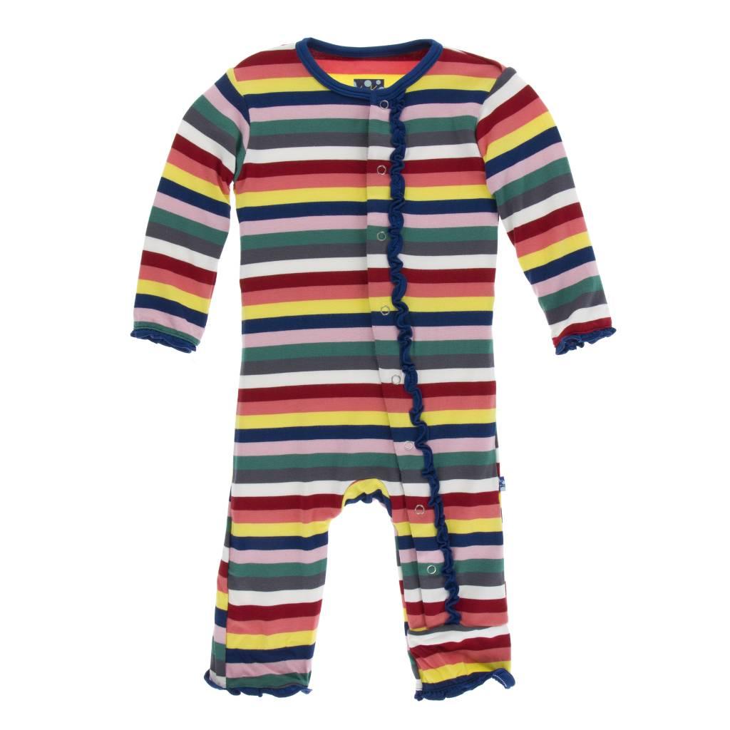 Kickee Pants Muff. Ruff. Snap Coverall Bright London Stripe