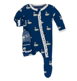 Kickee Pants Muff. Ruff. Zip Footie Navy Queen Swans