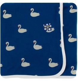 Kickee Pants Swaddle Blanket Navy Queen Swans