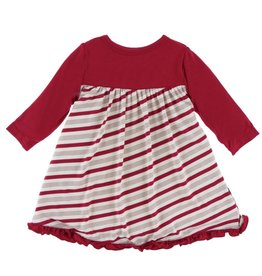 Kickee Pants Classic LS Swing Dress Rose Gold Candy Cane Stripe