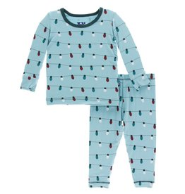 Kickee Pants LS PJ Set Glacier Holiday Lights