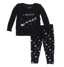 Kickee Pants LS PJ Set Silver Bright Stars