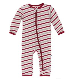 Kickee Pants Zip Coverall Rose Gold Candy Cane Stripe