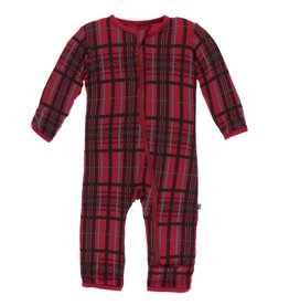 Kickee Pants Zip Coverall Christmas Plaid