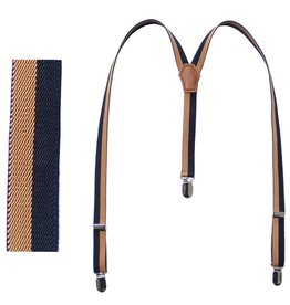 Fore!! Axel & Hudson Camel/ Navy Stripe Suspenders
