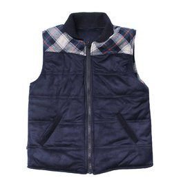 Fore!! Axel & Hudson Navy Suede/ Plaid Reversible Puff Vest