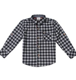 Fore!! Axel & Hudson LS Black/ White Mixed Check Flannel Roll-Up Sleeve