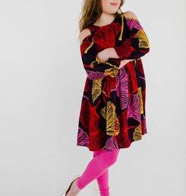 Masala Baby Layla Dress Ginkgo Leaves Purple