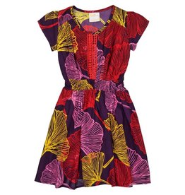Masala Baby Mia Dress Ginkgo Leaves Purple