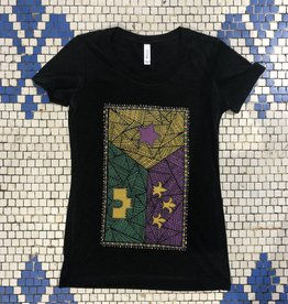 Mardi Gras Edition Patchwork Acadian Flag Womens Tee