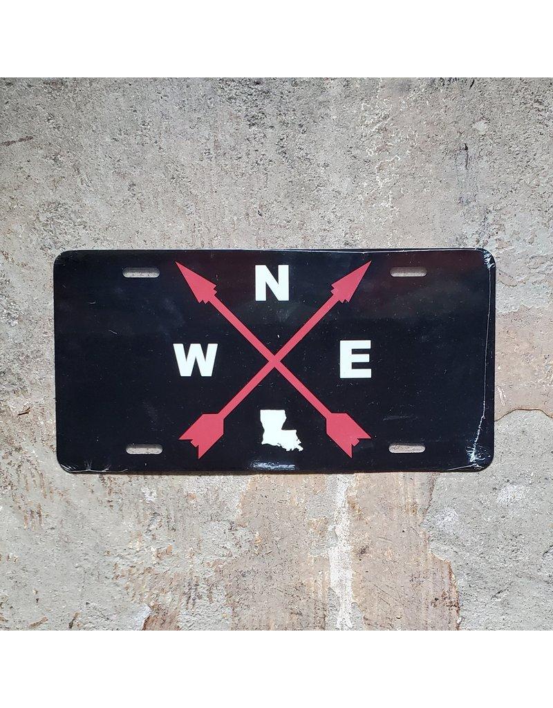 Compass License Plate - Black