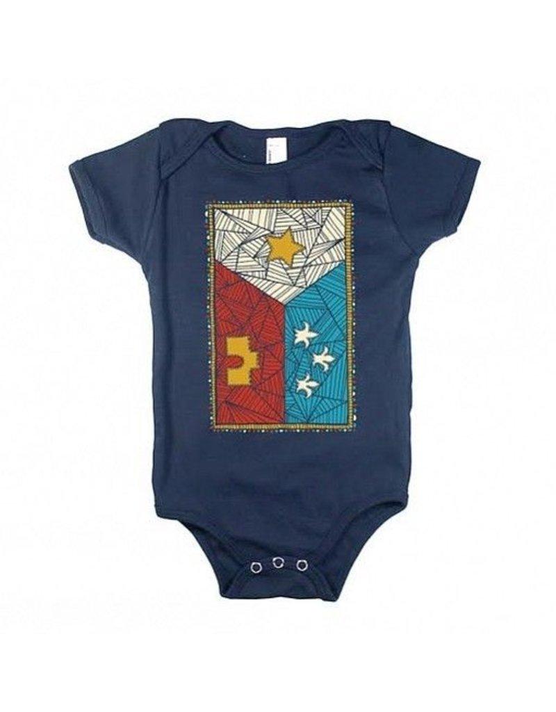 Patchwork Acadian Flag Baby Onesie