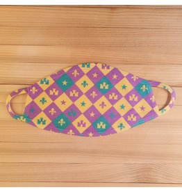 Cotton Face Mask - Mardi Gras Checkerboard