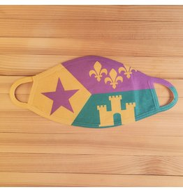 Cotton Face Mask - Mardi Gras Acadian Flag