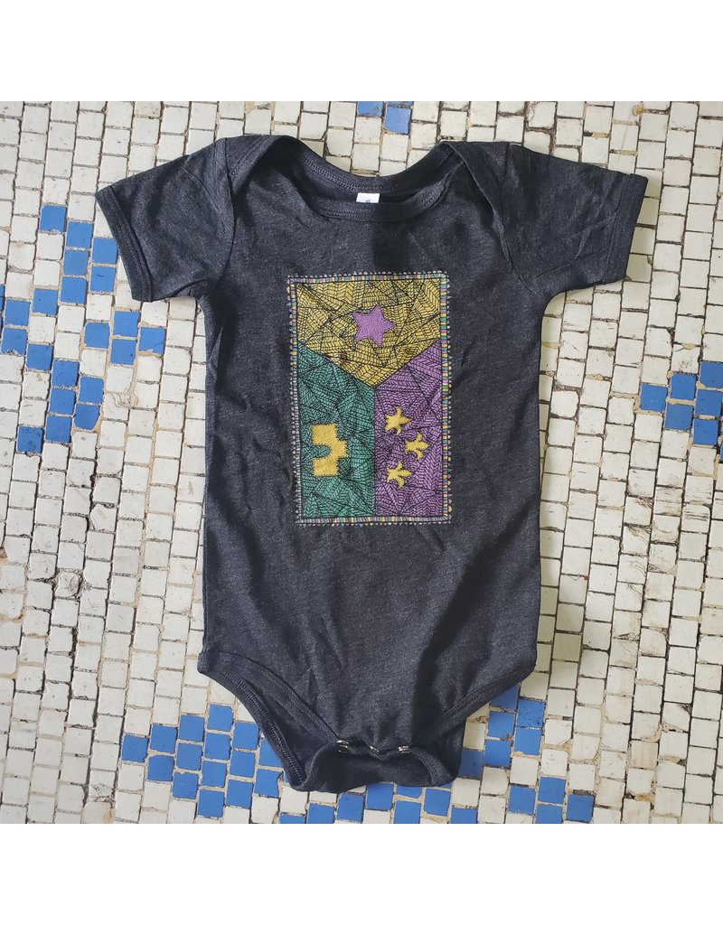 Bella+Canvas Mardi Gras Edition Patchwork Acadian Flag Baby Onesie