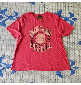 Ragin' Cajuns Baseball 1903 Womens Relaxed Fit Tee Heather Red