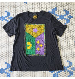 Mardi Gras Patchwork Flag Womens Relaxed Fit Tee