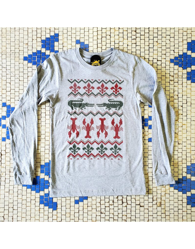 Cajun Christmas Sweater Mens LS Tee