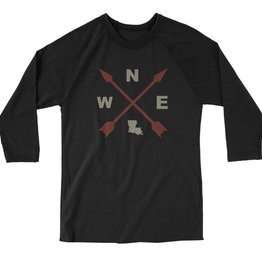Louisiana Compass Mens 3/4 Sleeve Tee