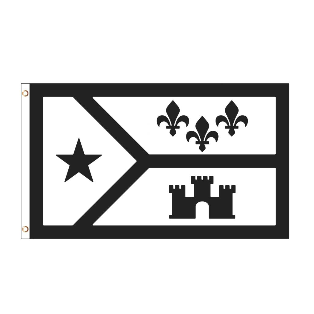 3x5 Black and White Acadiana Flag