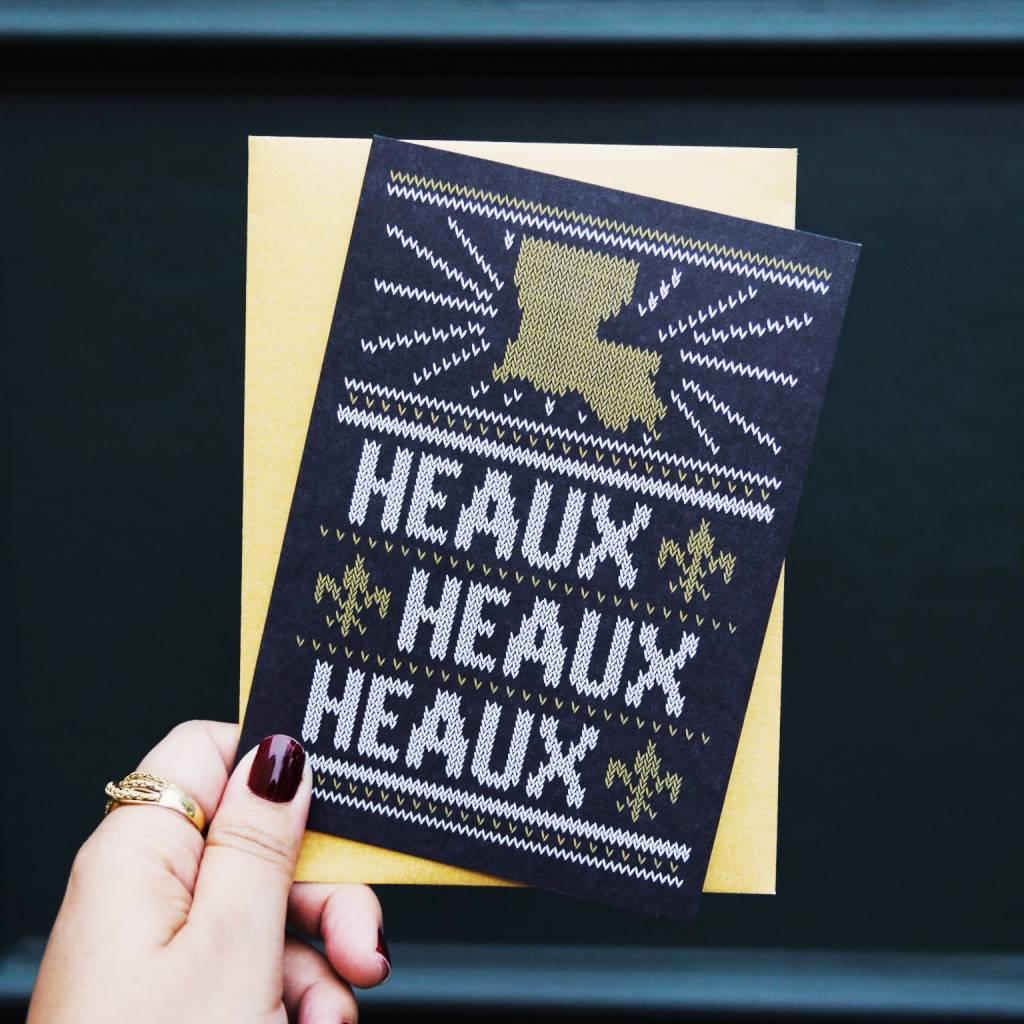 Heaux Heaux Heaux Black and Gold Greeting Card