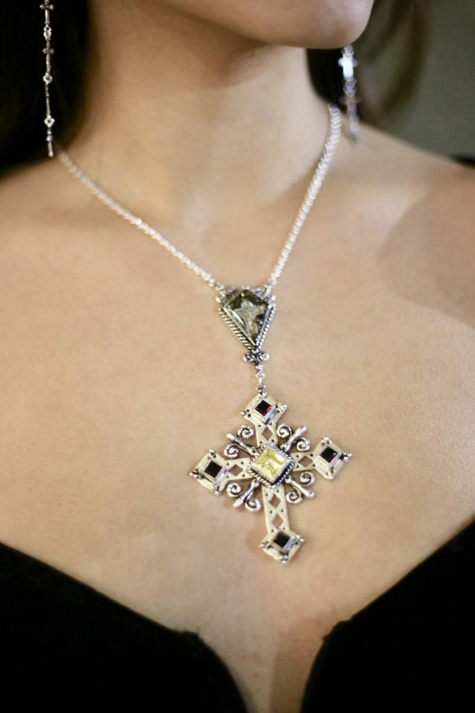 The Paloma Cross Necklace bs-jonquil-jet