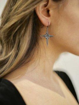 Cross Earrings-gm-silver night