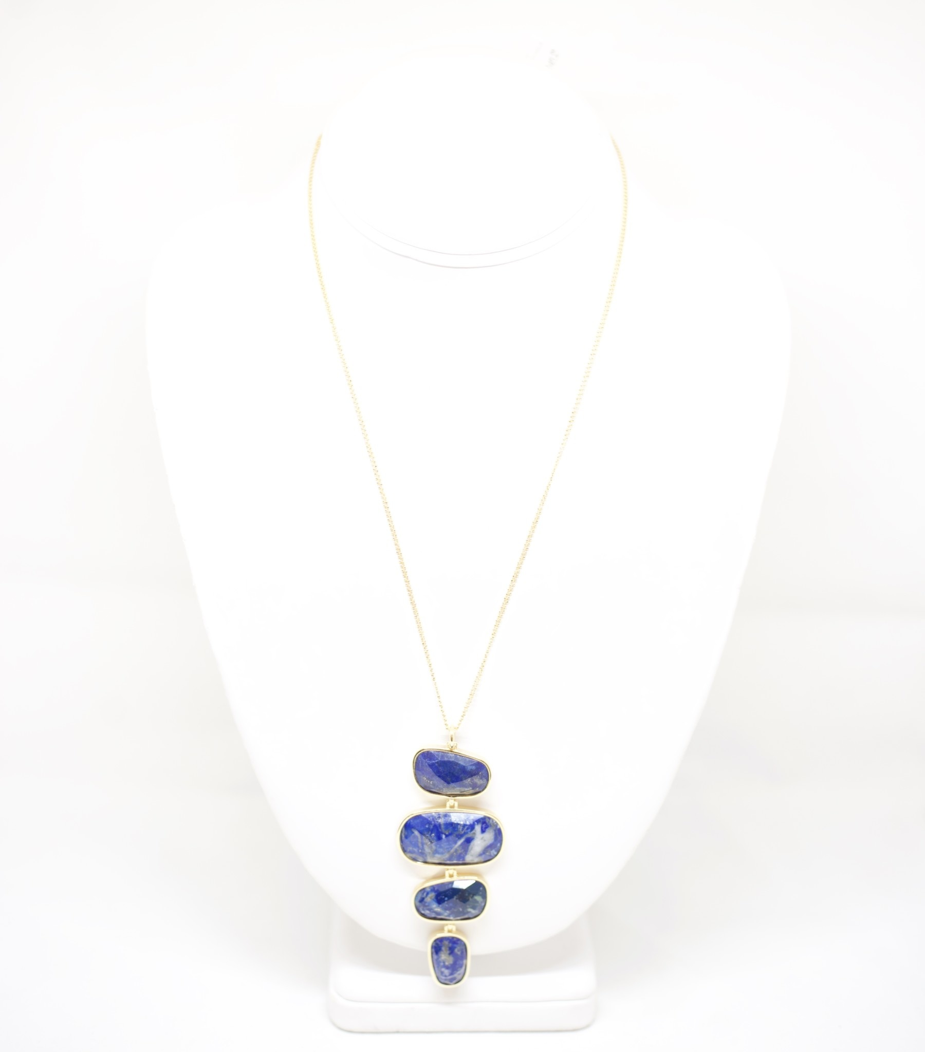 Marcia Moran Gold Plated Necklace W/Vertical Four Stone Lapis