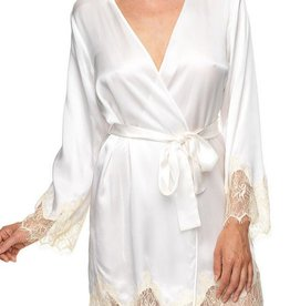 "KissKill KissKill -  Ivory ""Bride"" Silk Bed Jacket Robe"