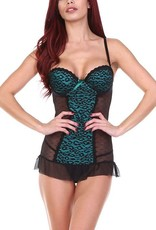 Anemone Black and Teal Leopard Print Babydoll -