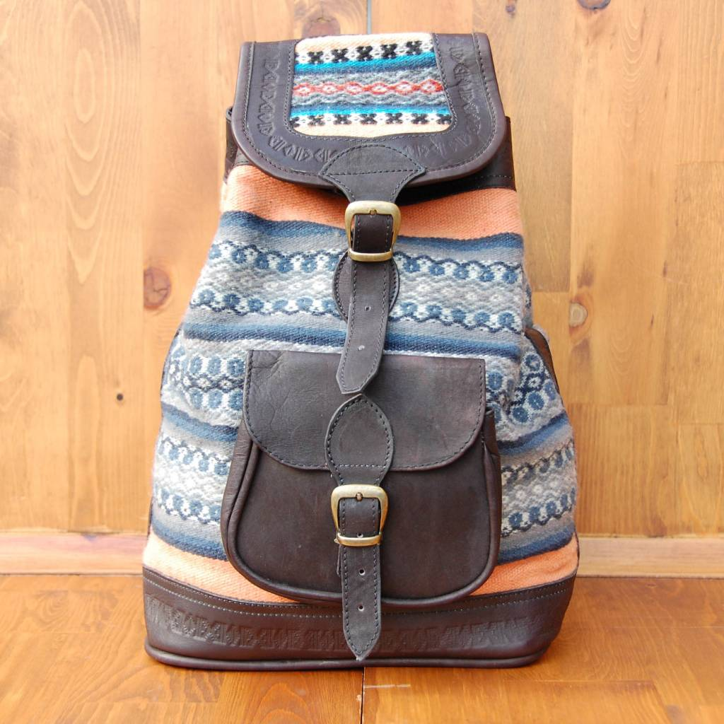 Tupac Leather and Weaving Backpack