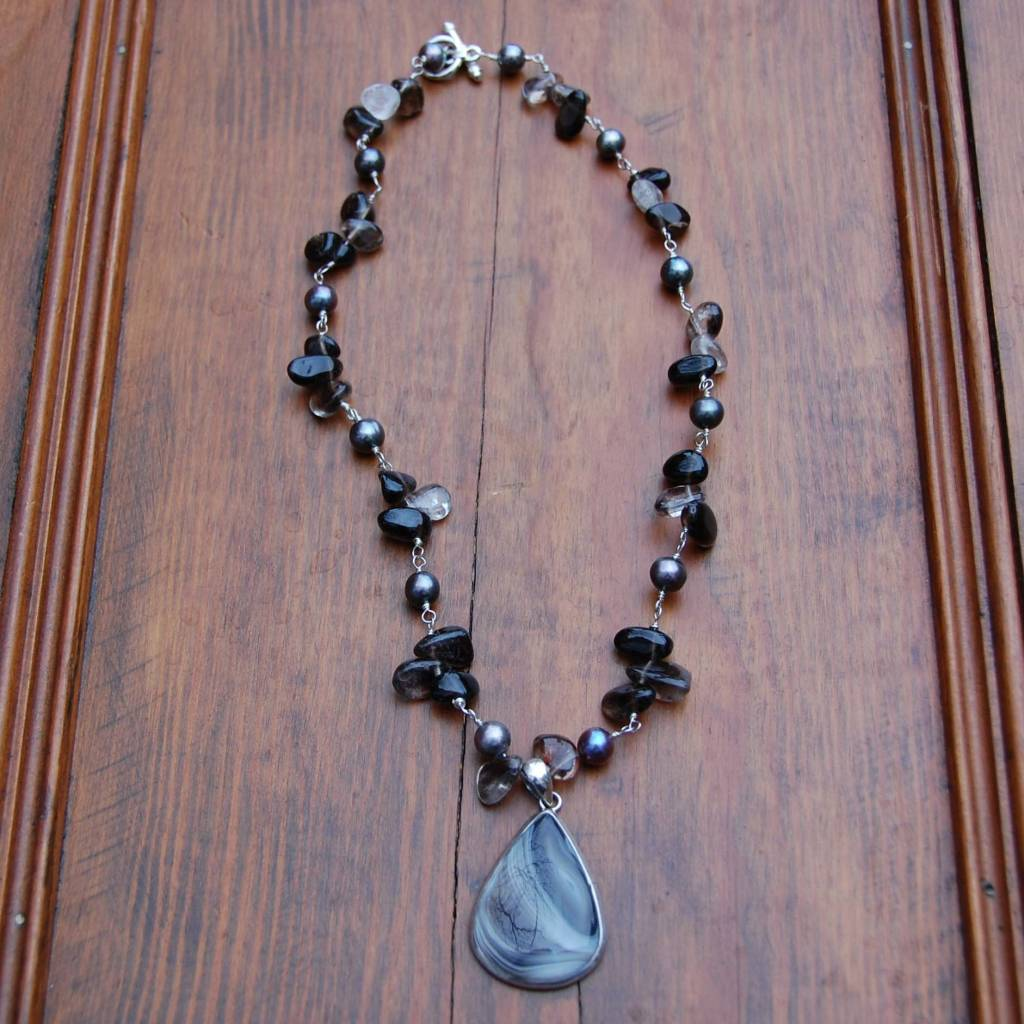 Sealy Agate and Smokey Quartz Necklace