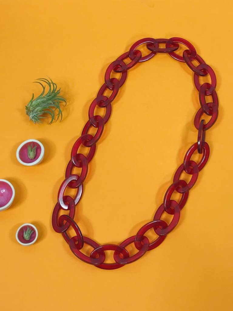Ink & Alloy Lucite Oval Chain - Ruby