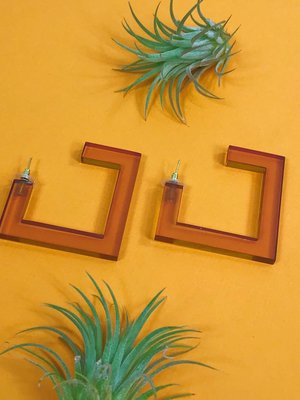 Ink & Alloy Lucite Square Hoop - Amber