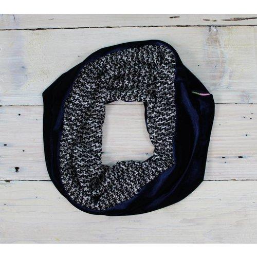 Sarah Bibb Single Loop Infinity Scarf - Blue Velvet/B & W