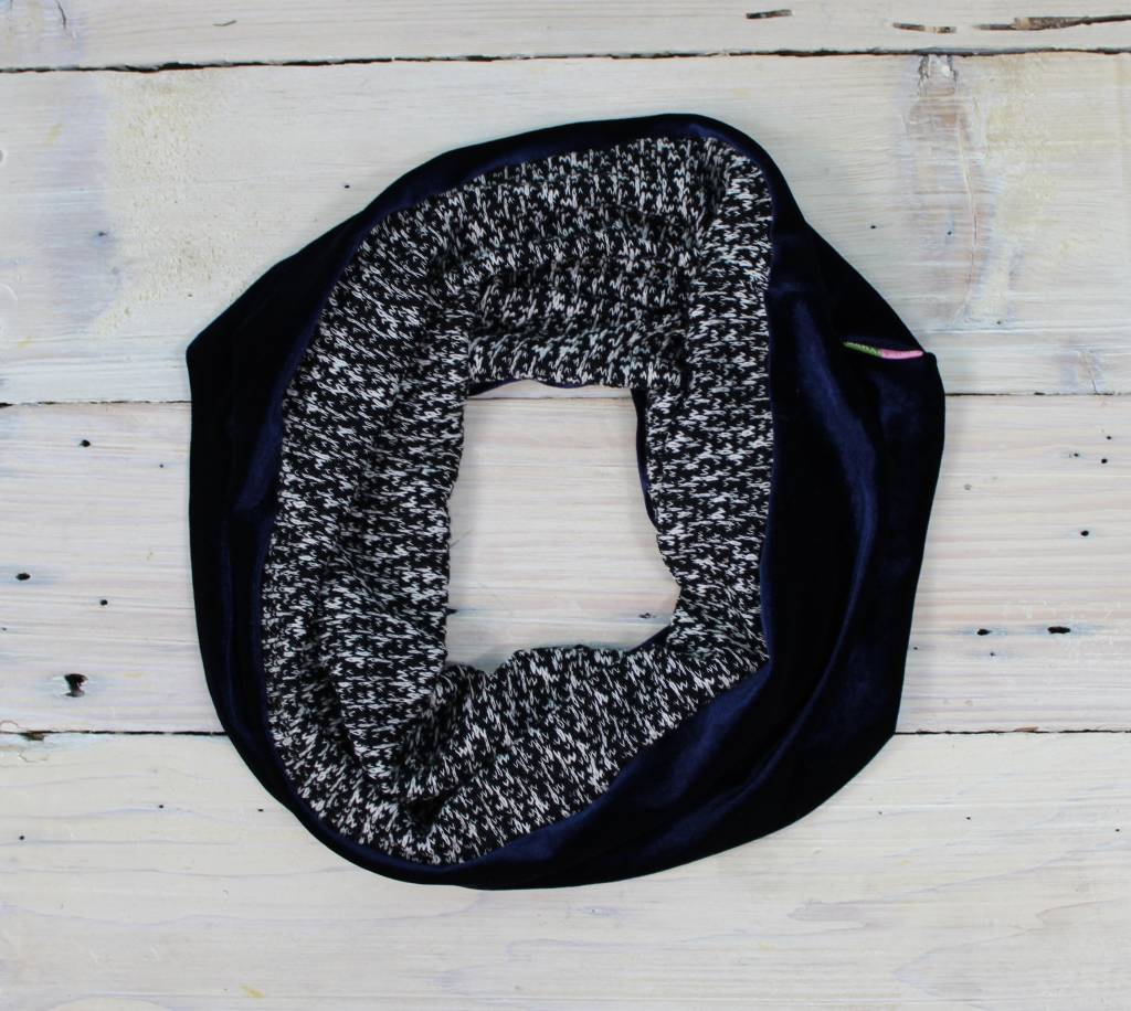 Sarah Bibb Single Loop Infinity Scarf - Blue Velvet/B & W