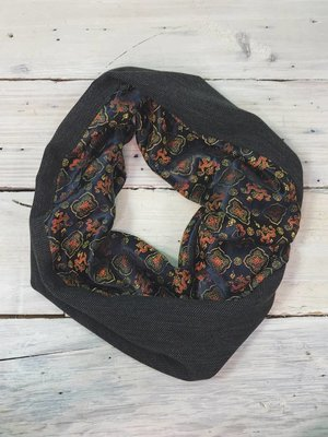 Sarah Bibb Single Loop Infinity Scarf -Dragon/Charcoal