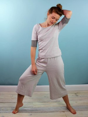 Sarah Bibb Hailey PJ Set - B&W point/stripe